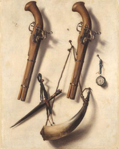 Artifici amb objectes de caça i rellotge.