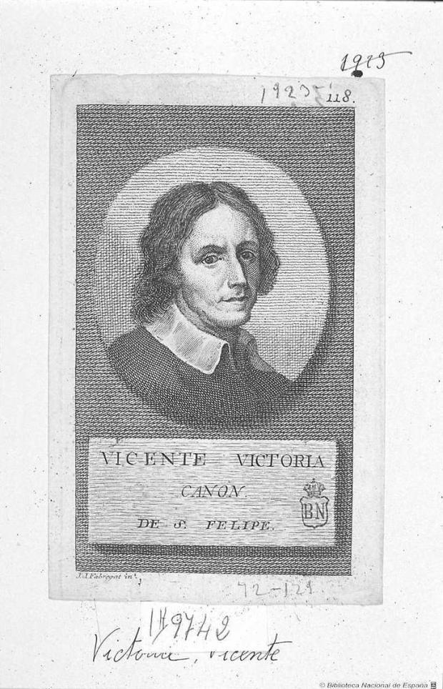 Joaquin Fabregat. Retrato de Vicente Vitoria. Estampa de Antonio Ponz publicada a Viaje por España