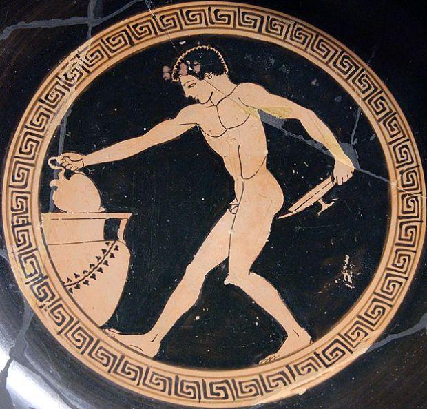Kilyx amb representacions de banquets amb vi a Grecia. Marq - Museu del Louvre