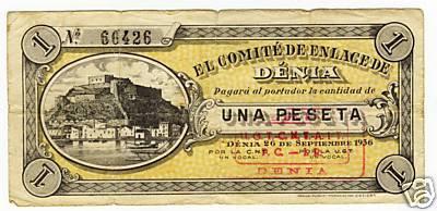 Bitllet emés a Dénia durant la guerra