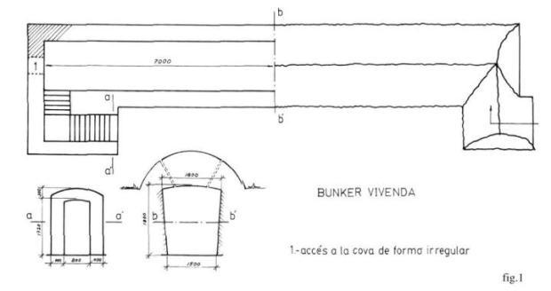 Plànol del Búnquer. Font. Agnés Ferrer i Vicent Ferrer i Hermenegildo