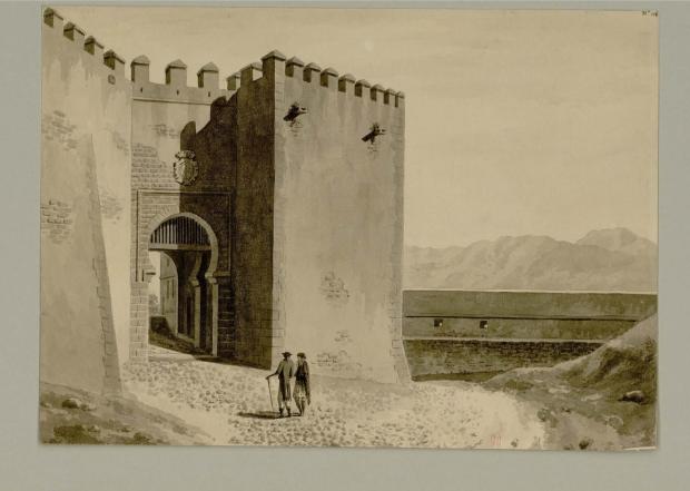 Vista del Portal de la Vila. Voyage pittoresque et historique de l'Espagne, par A. de Laborde.Cap al 1800