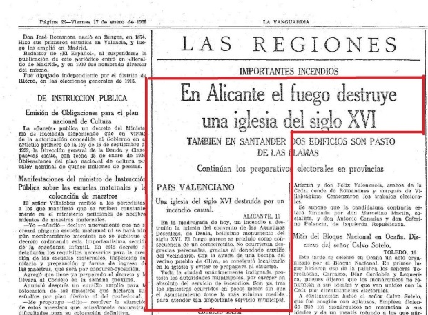 Referencias al incendio en La Vanguardia y ABC respectivamente.