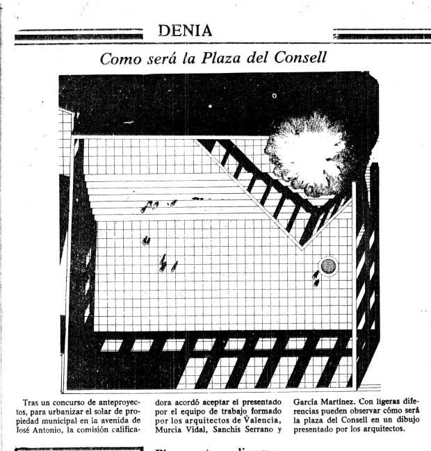 Projecte plaça del consell. Canfali Marina Alta 22 Octubre de 1978