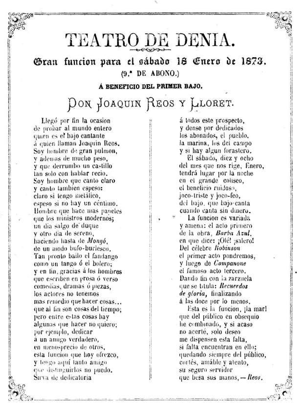 Actuació. 1873