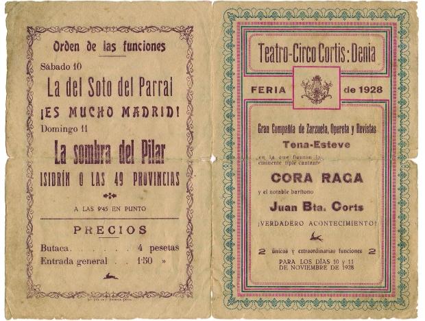 Programa de l'actuació de Cora Raga i Juan Bta. Corts en la fira del 1928 (Arxiu A. Reig).