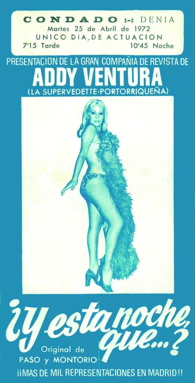 Espectacle de la vedette Addy Ventura al Condado l'any 1972 (Arxiu M. Crespo).
