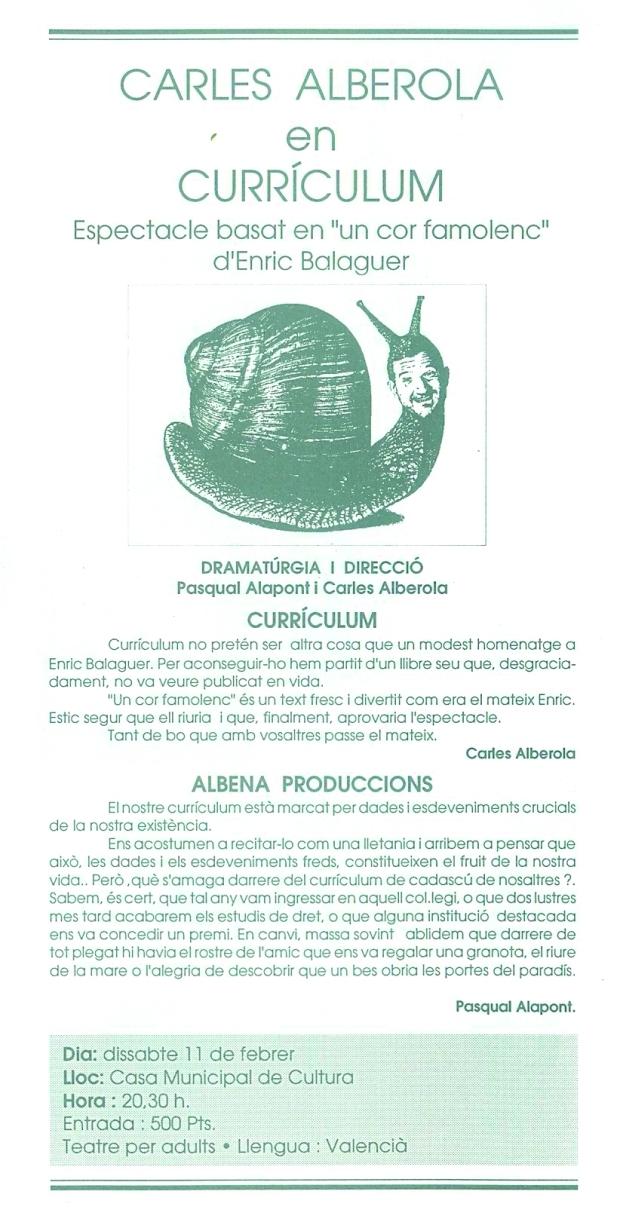 Albena Teatre a la Casa de Cultura l'any 1995 (Arxiu M. Crespo).