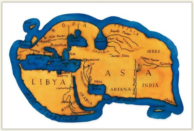 (Figura 3) Mapa de representació del mon segons el geògraf Estrabó.