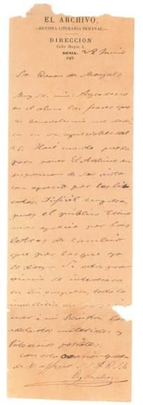 Carta a Alejandro Harmsen, Barón de Mayals, quejándose del escaso éxito de la venta de sus publicaciones, a fines de esa década.