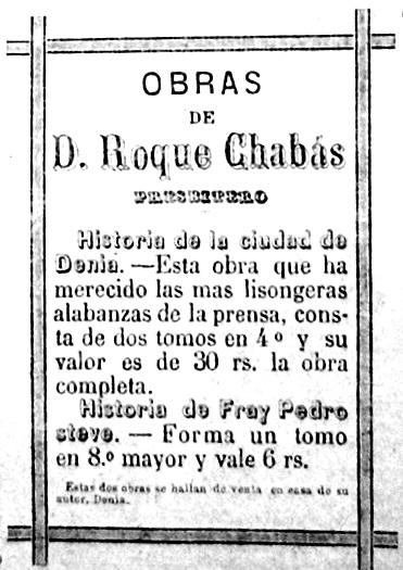 """Publicidad de El Archivo en el periódico """"La Asociación dianense"""" de 1883"""